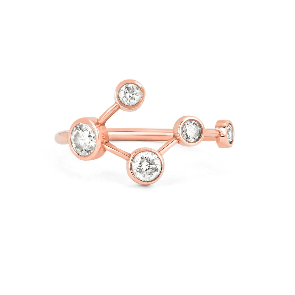 Big Dipper Diamond Constellation Ring Rose Gold