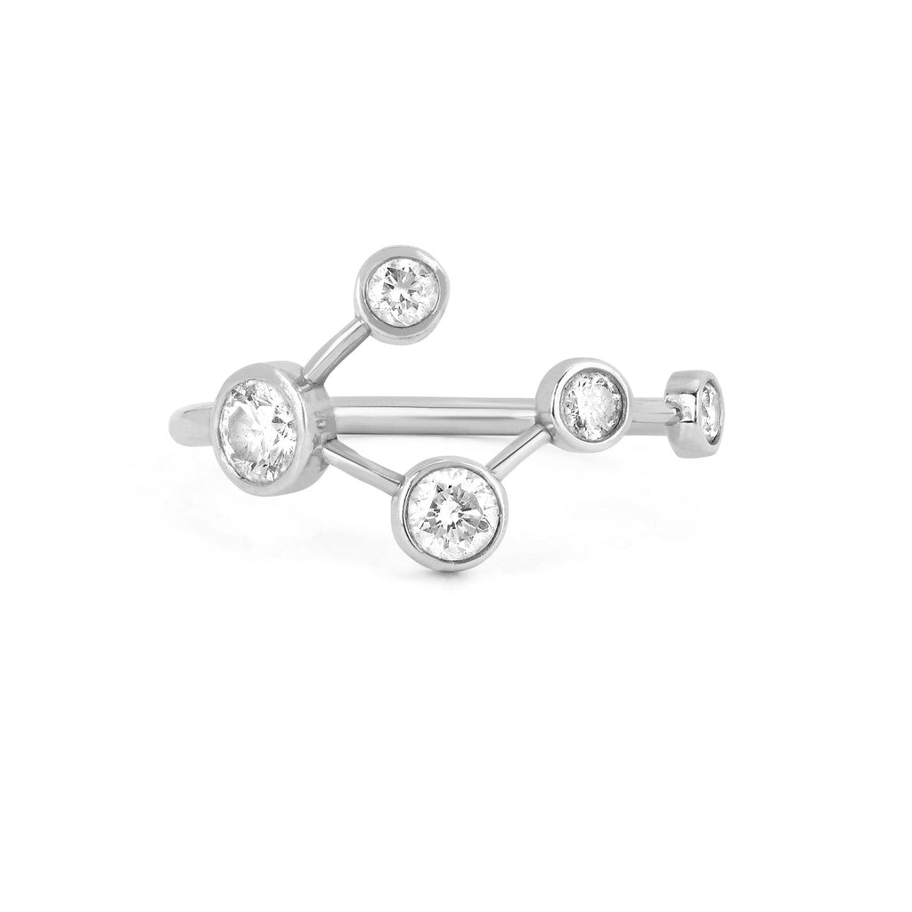 Big Dipper Diamond Constellation Ring White Gold