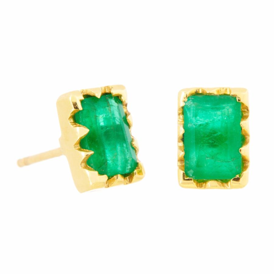Crown Bezel Emerald Cut Emerald Studs