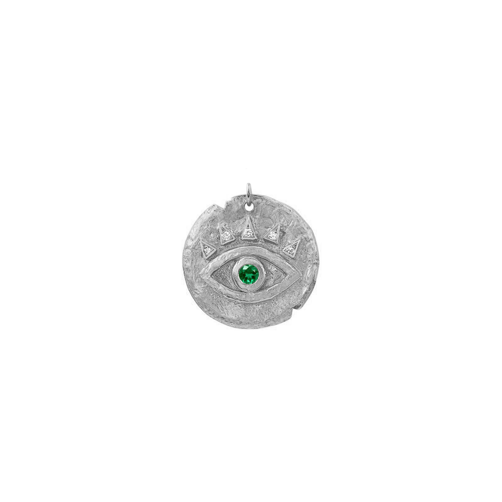 Emerald Baby Eye of Protection Coin Charm White Gold