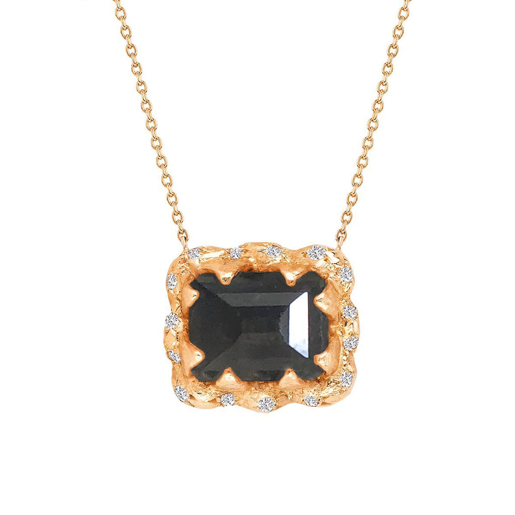 Queen Emerald Cut Black Diamond Necklace with Sprinkled Diamonds Queen Emerald Cut Black Diamond Necklace with Sprinkled Diamonds