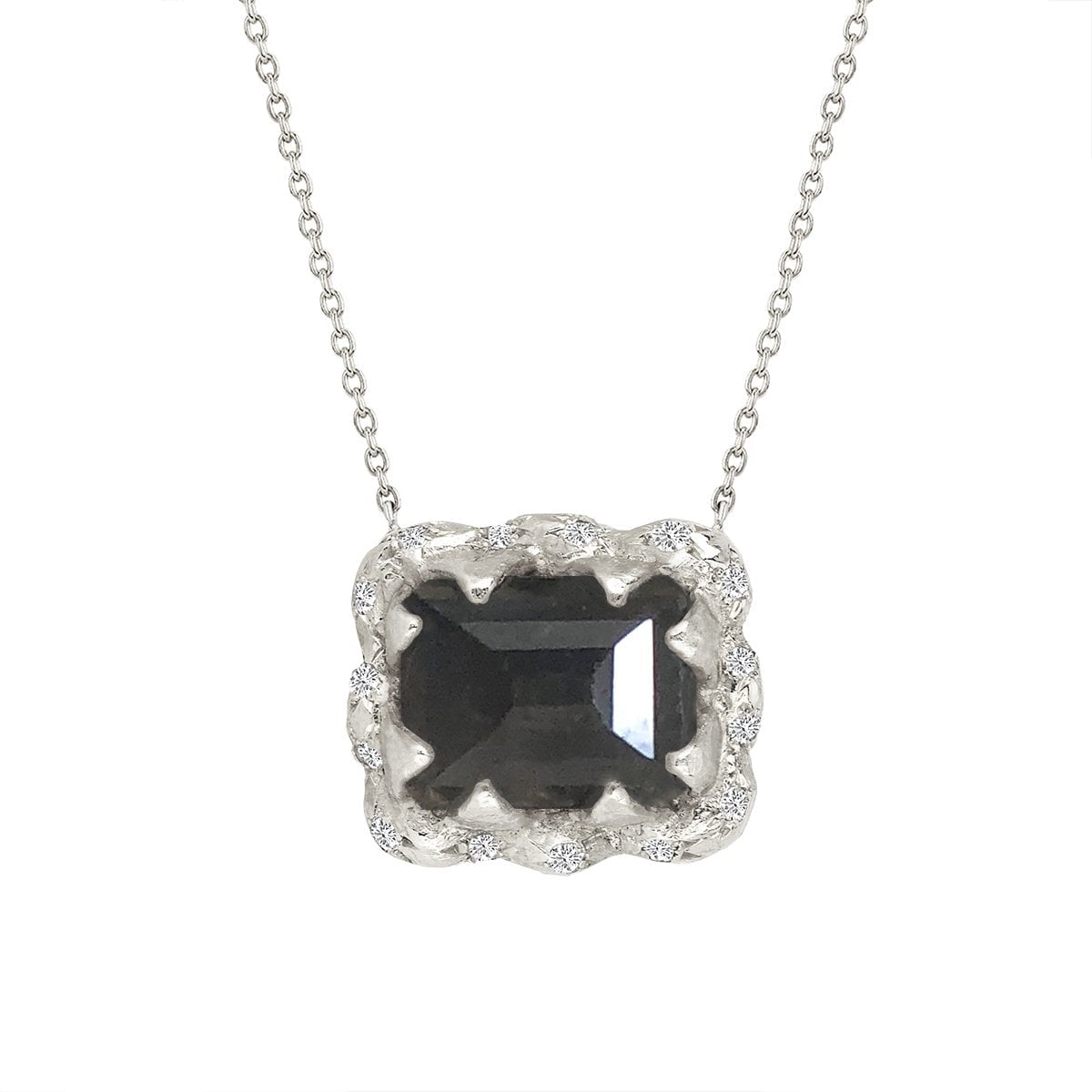Queen Emerald Cut Black Diamond Necklace with Sprinkled Diamonds