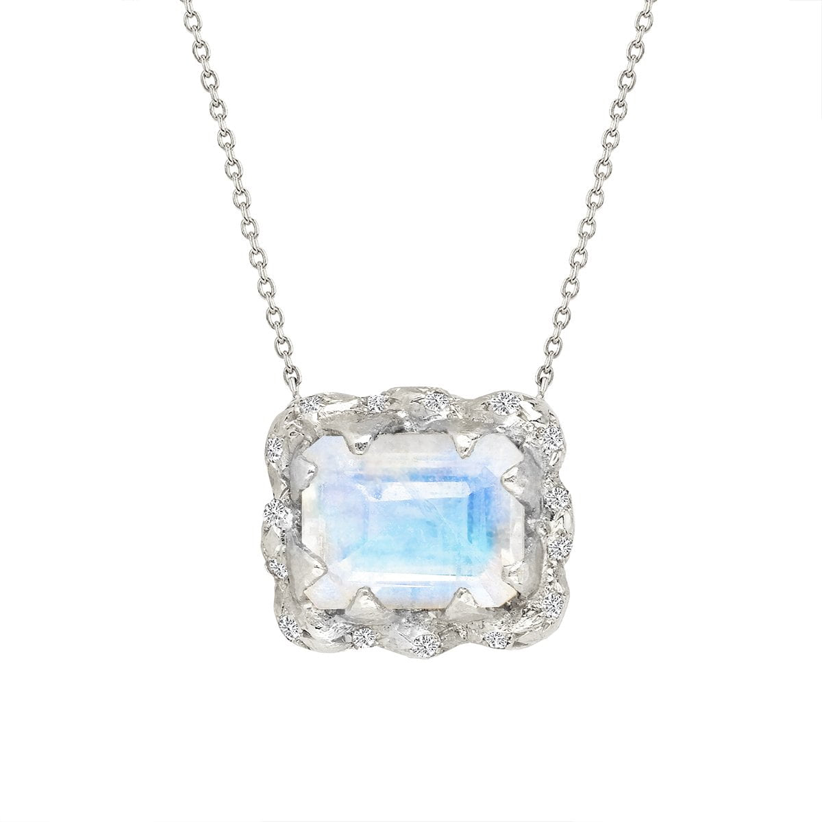 18k Queen Emerald Cut Moonstone Necklace with Sprinkled Diamonds