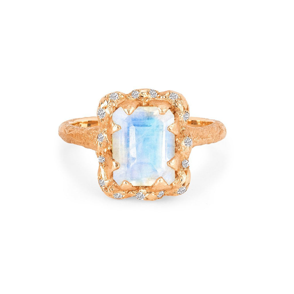 18k Queen Emerald Cut Moonstone Ring with Sprinkled Diamonds 18k Queen Emerald Cut Moonstone Ring with Sprinkled Diamonds