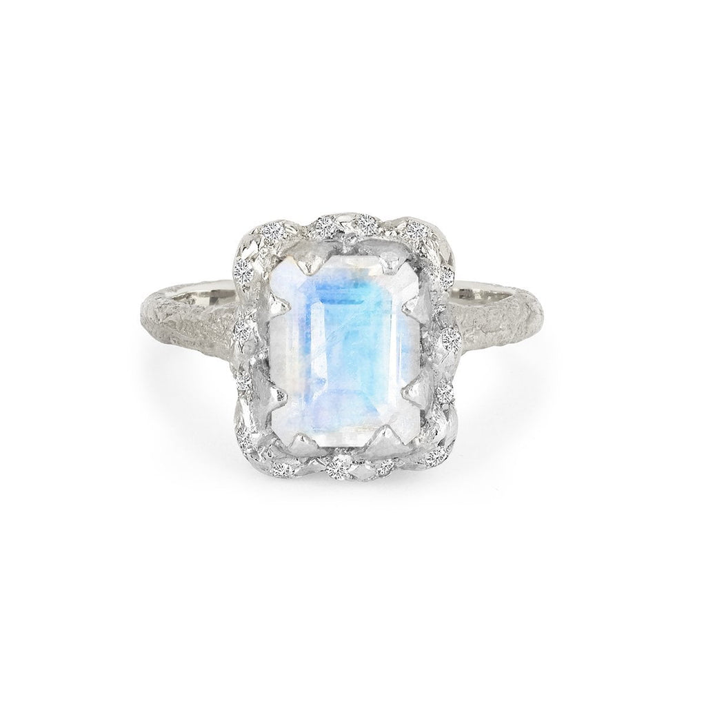 NEW! Queen Emerald Cut Moonstone Ring with Sprinkled Diamonds NEW! Queen Emerald Cut Moonstone Ring with Sprinkled Diamonds