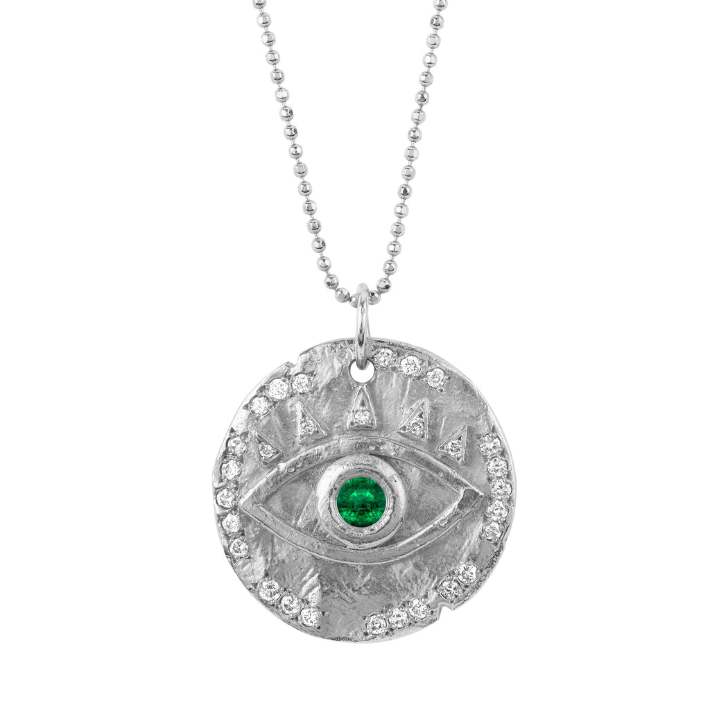 18k Emerald Eye of Protection Coin Pendant White Gold