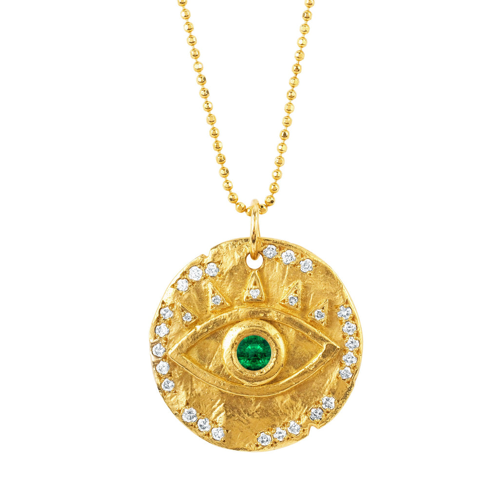 18k Emerald Eye of Protection Coin Pendant Yellow Gold