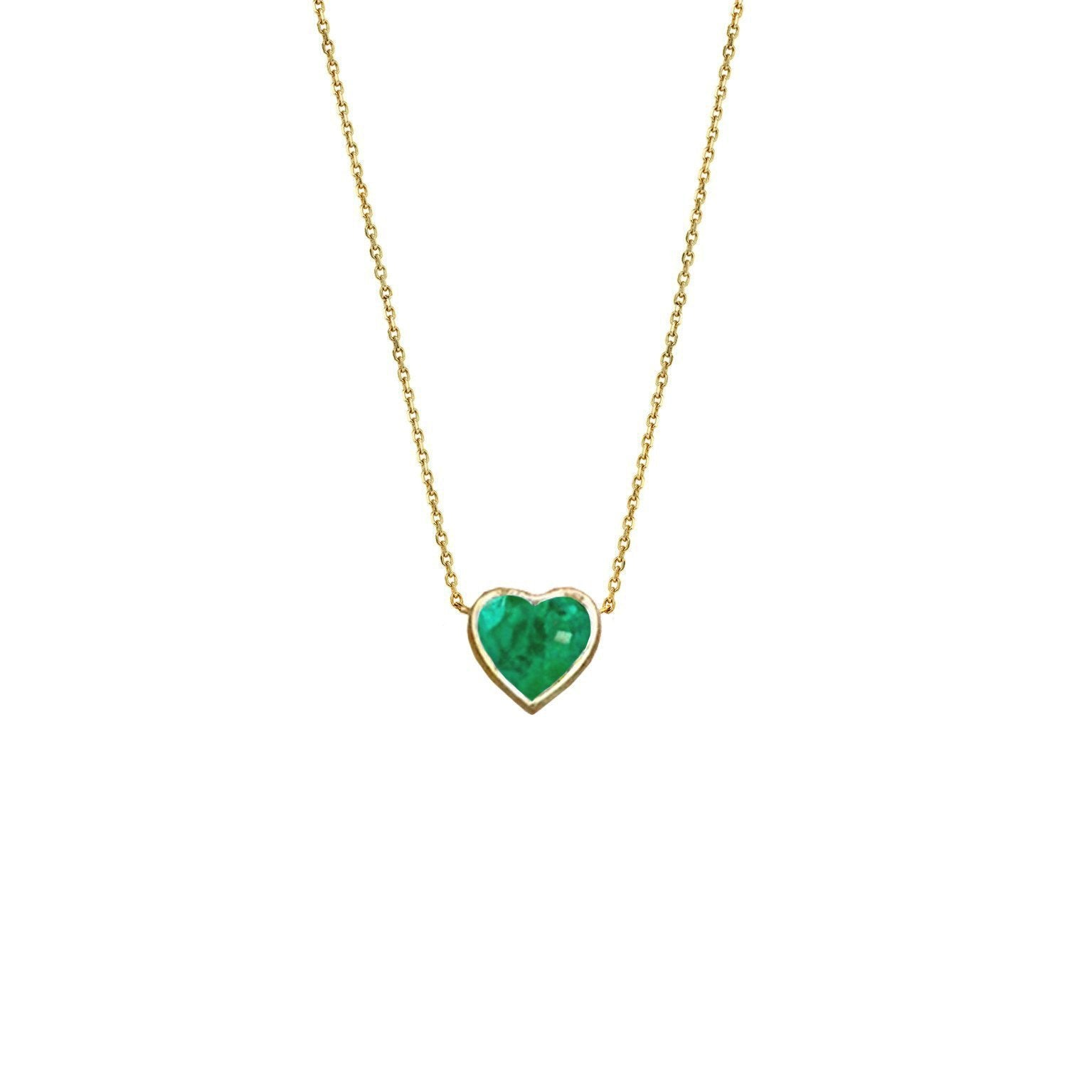 New! Floating Heart Shaped Emerald Necklace