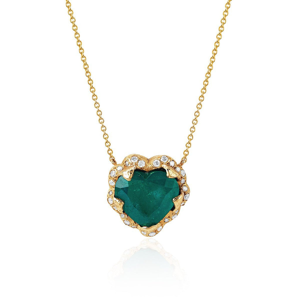 18k Large Columbian Emerald Heart Necklace Yellow Gold