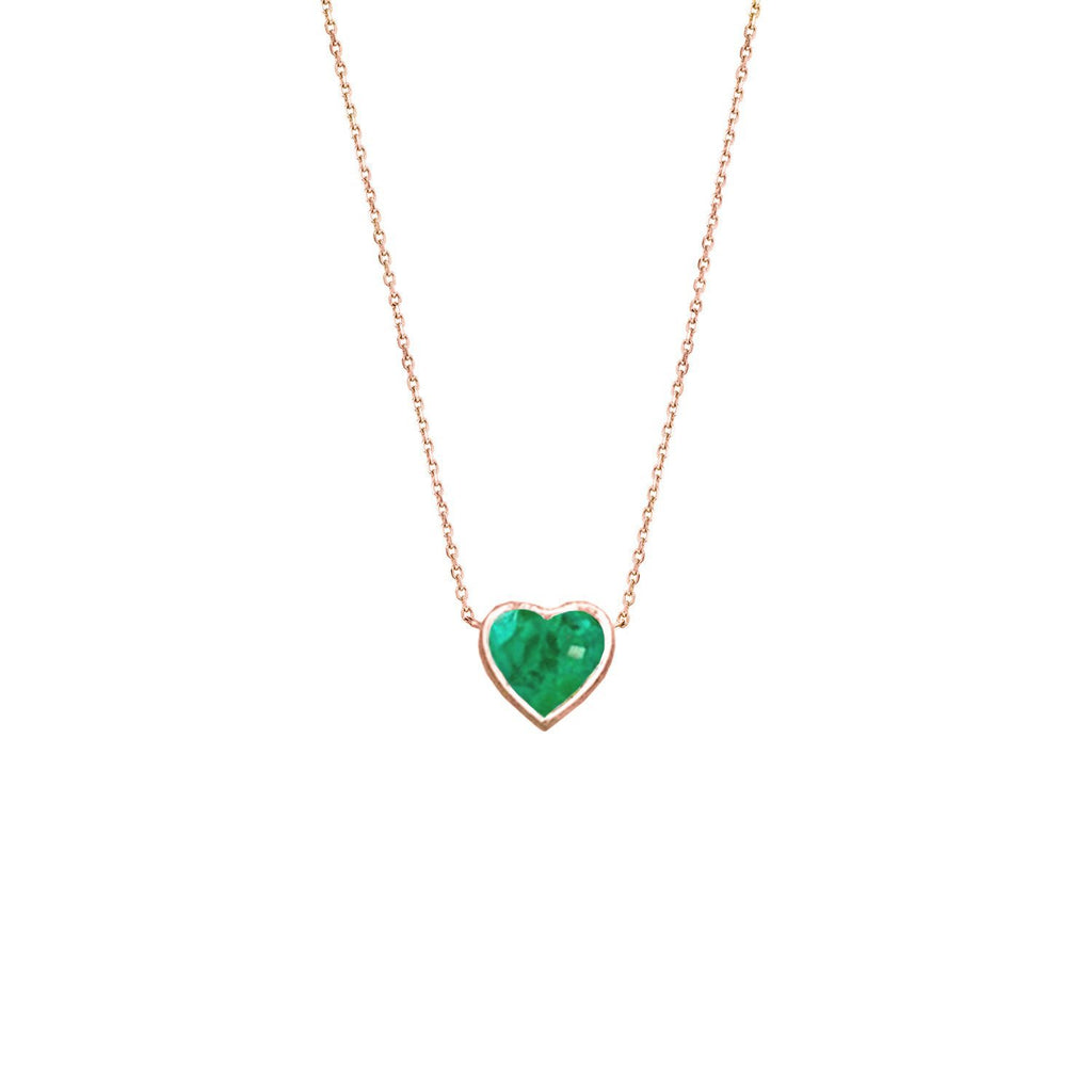 Floating Heart Shaped Emerald Necklace Rose Gold