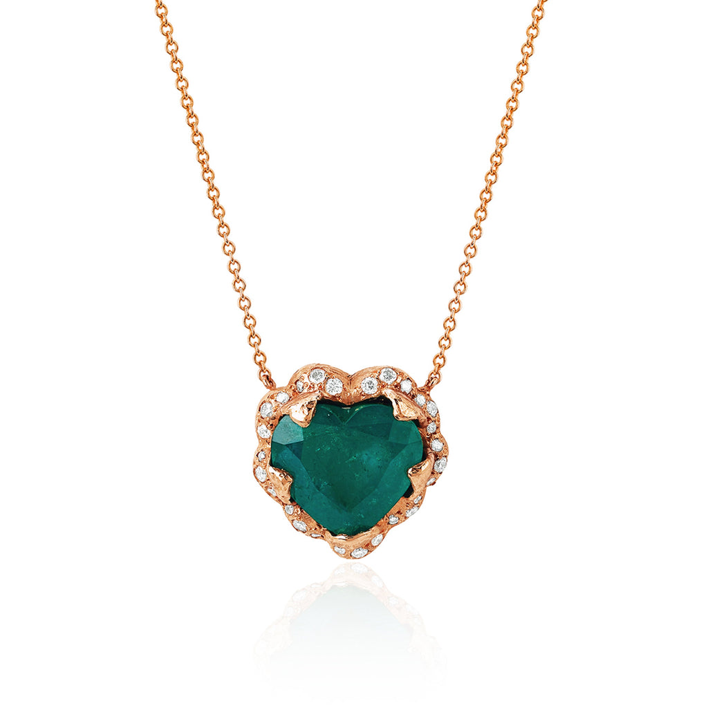 18k Large Columbian Emerald Heart Necklace Rose Gold