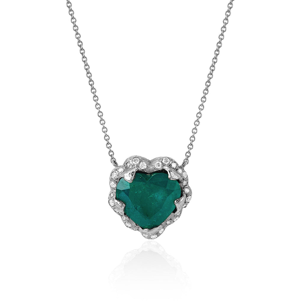18k Large Columbian Emerald Heart Necklace White Gold