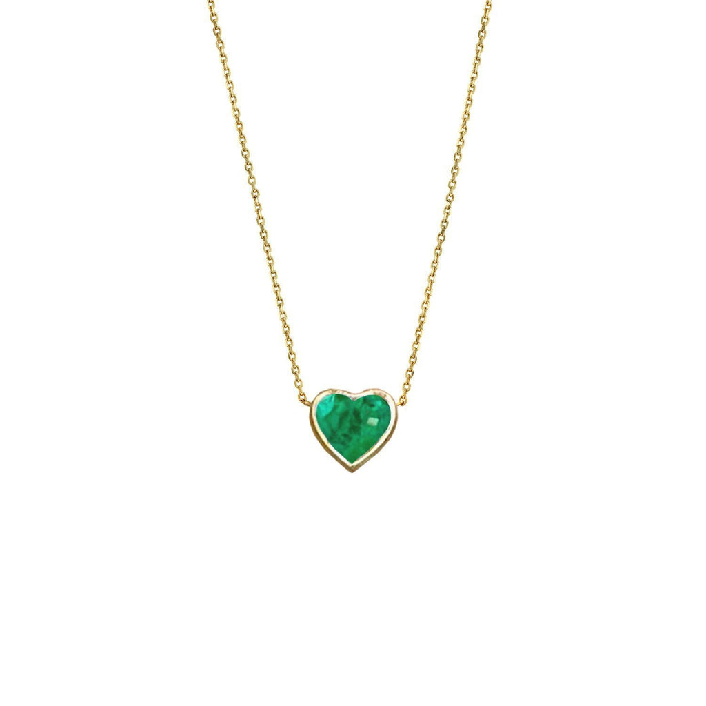 Floating Heart Shaped Emerald Necklace Yellow Gold