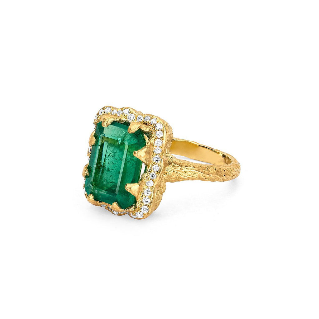 18k Queen Emerald Cut Emerald Ring with Full Pavé Diamond Halo 18k Queen Emerald Cut Emerald Ring with Full Pavé Diamond Halo