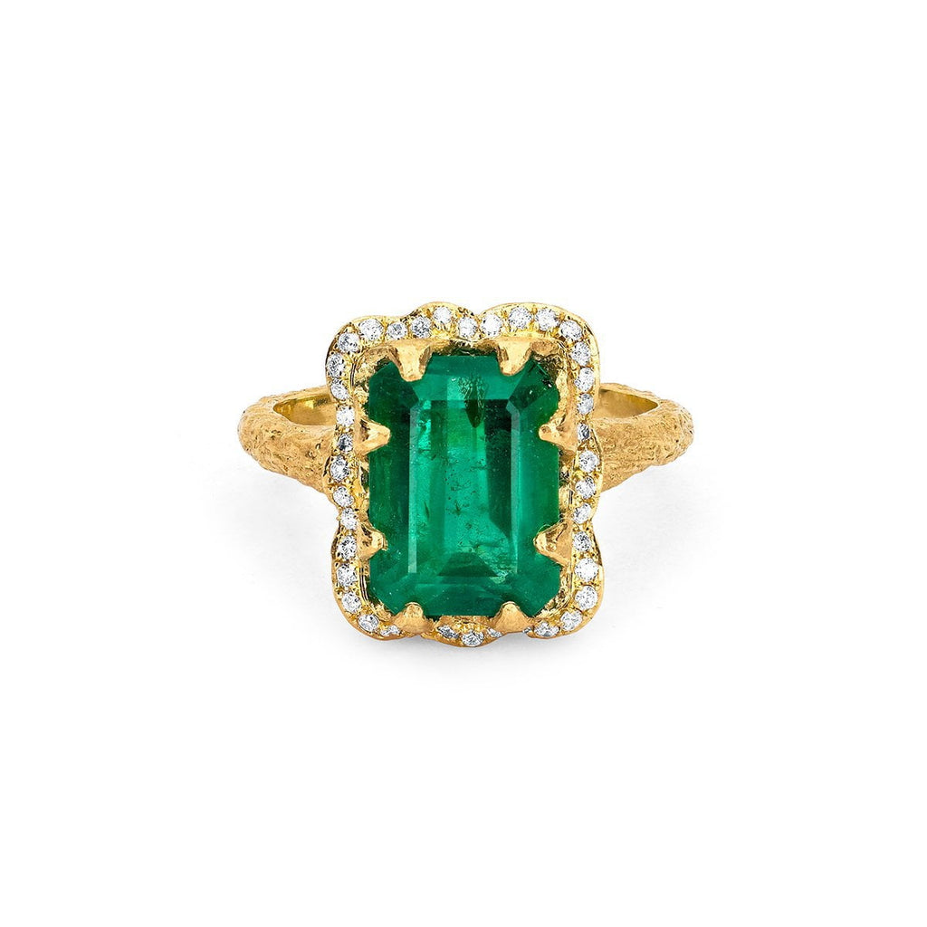 NEW! 18k Queen Emerald Cut Emerald Ring with Full Pavé Halo Yellow Gold