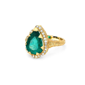 NEW! Premium Water Drop Columbian Emerald Queen Ring with Full Pavé Halo