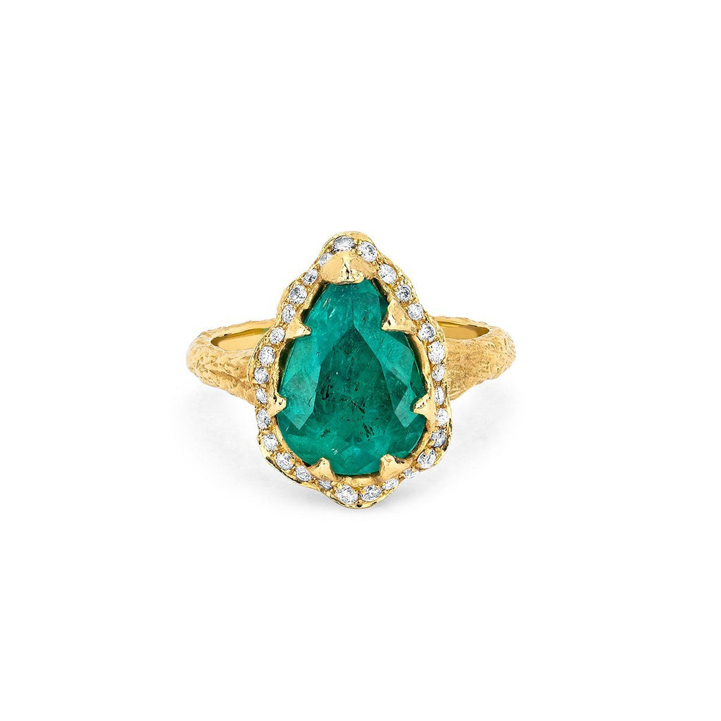 18k Premium Water Drop Colombian Emerald Queen Ring with Full Pavé Halo Yellow Gold