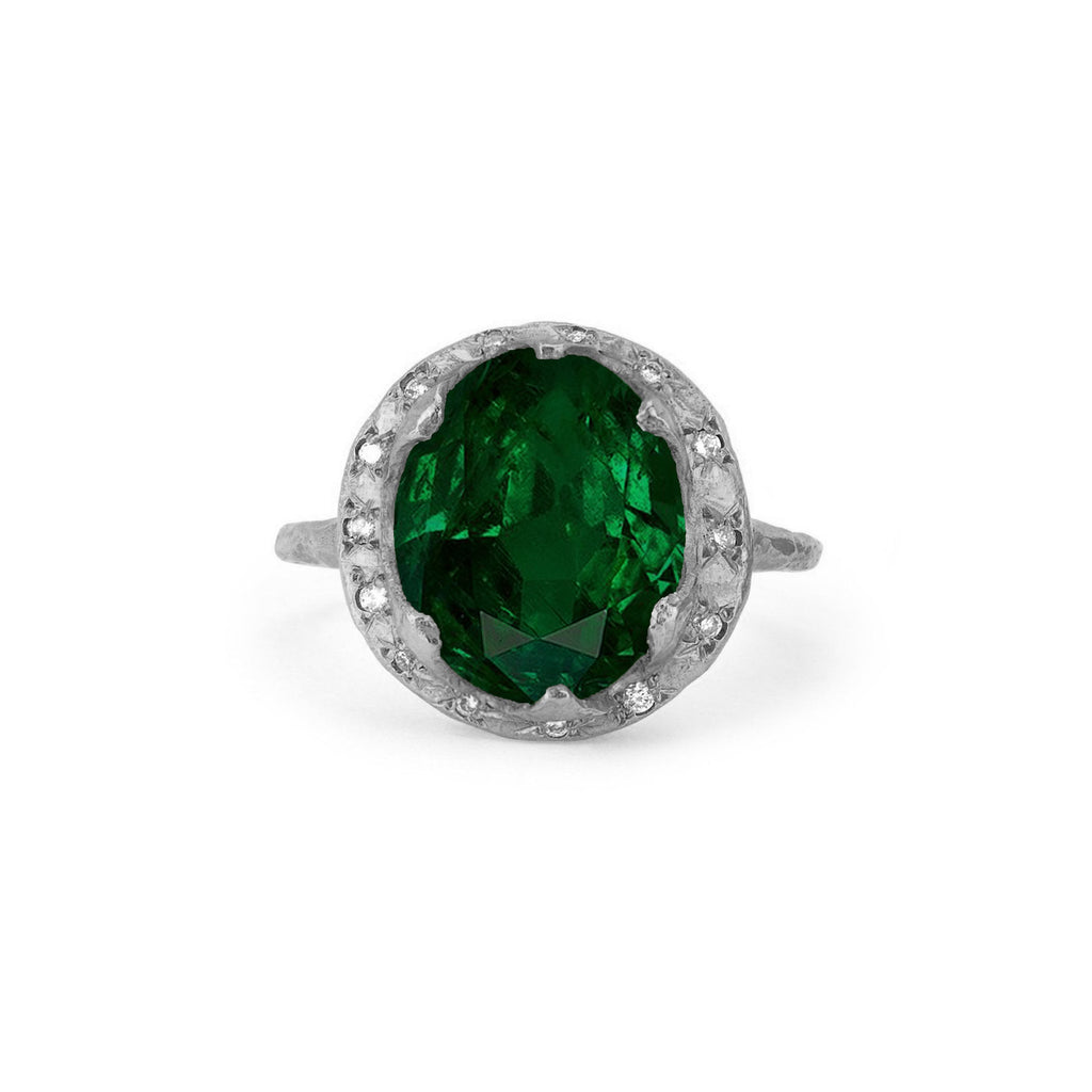 Queen Diamond and Oval Zambian Emerald Ring with Sprinkled Diamonds White Gold