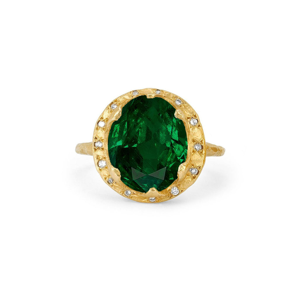 Queen Diamond and Oval Zambian Emerald Ring with Sprinkled Diamonds Yellow Gold
