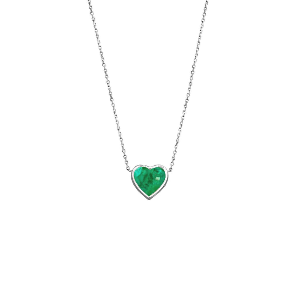 Floating Heart Shaped Emerald Necklace White Gold