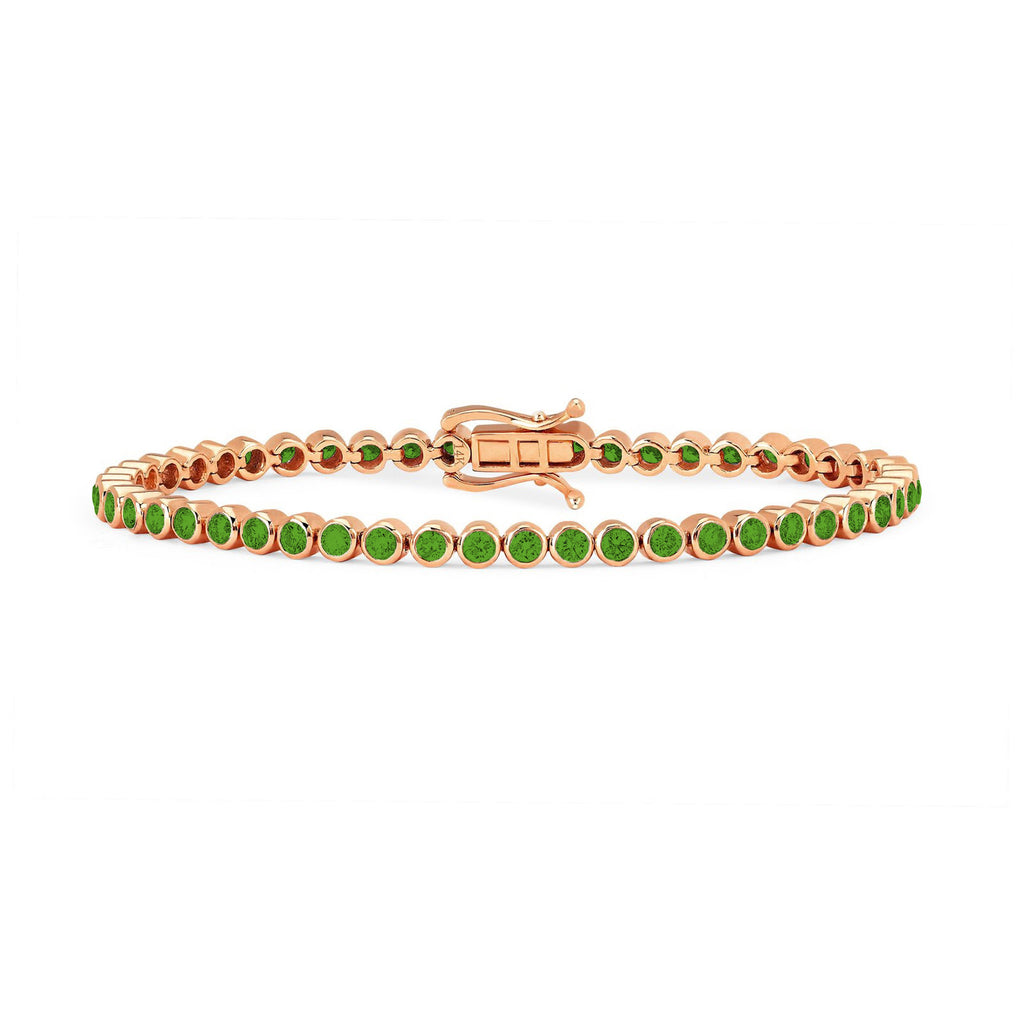 Infinity Orbit Emerald Tennis Bracelet Rose Gold