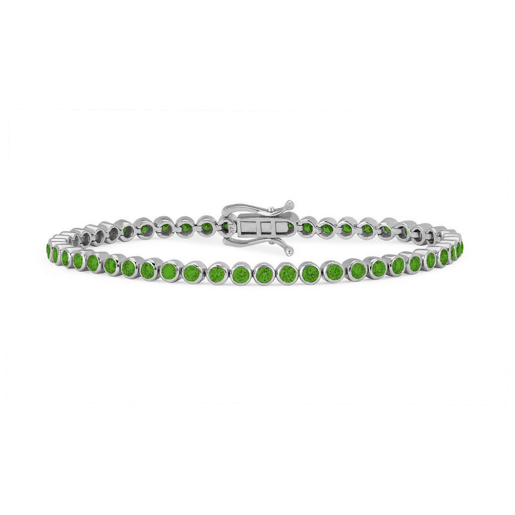 Infinity Orbit Emerald Tennis Bracelet White Gold