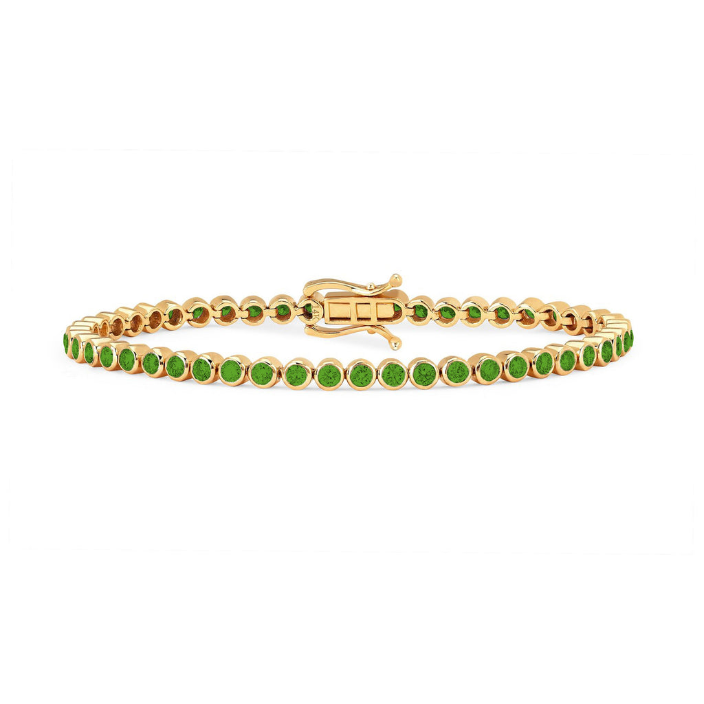 Infinity Orbit Emerald Tennis Bracelet Yellow Gold