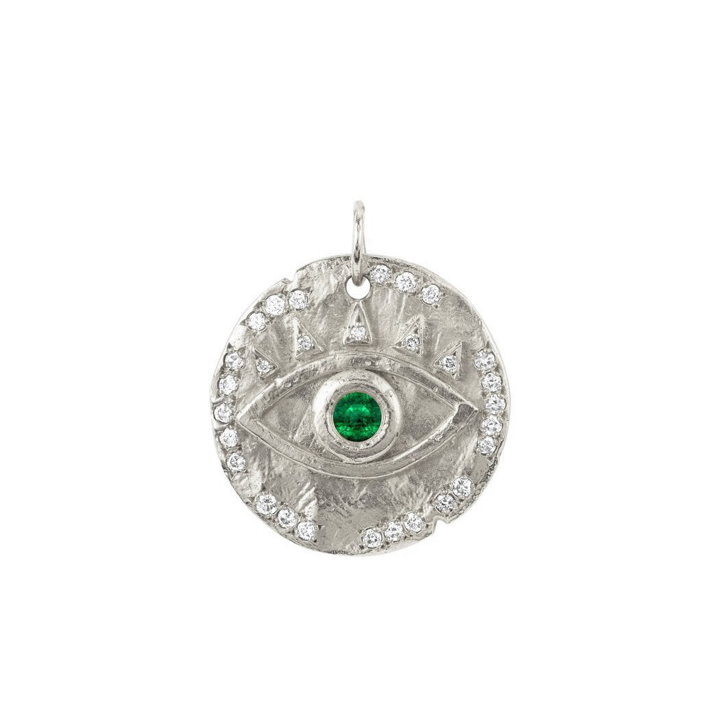 18k Emerald Eye of Protection Coin Charm