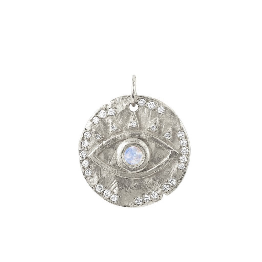 18k Moonstone Eye of Protection Coin Charm