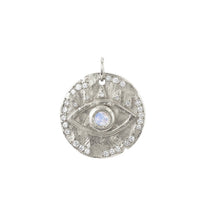 18k Moonstone Eye of Protection Coin Charm 18k Moonstone Eye of Protection Coin Charm