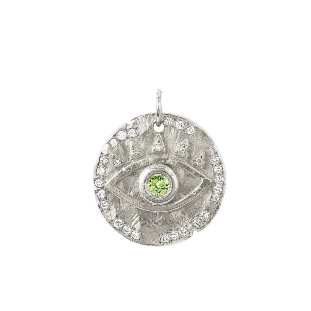 18k Peridot Eye of Protection Coin Charm 18k Peridot Eye of Protection Coin Charm