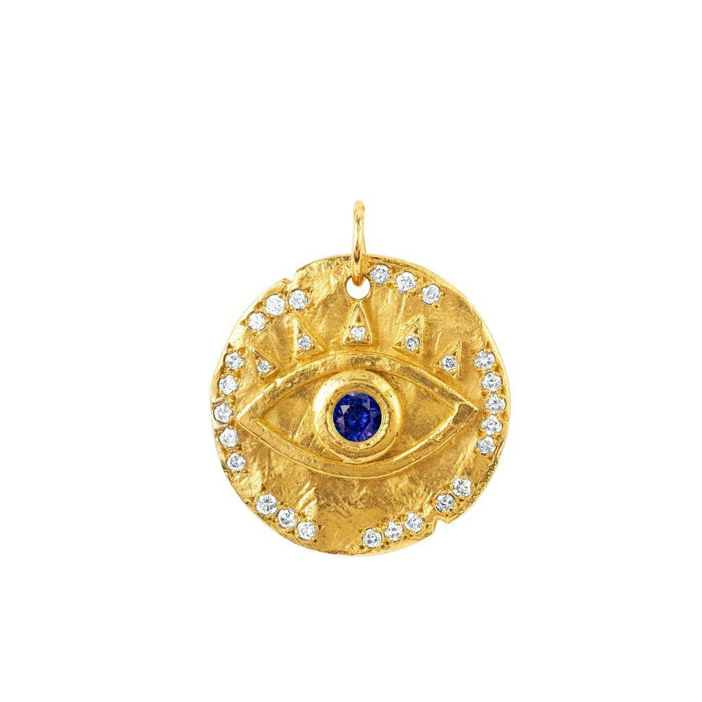 18k Sapphire Eye of Protection Coin Charm