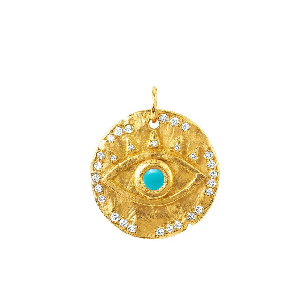 18k Turquoise Eye of Protection Coin Charm