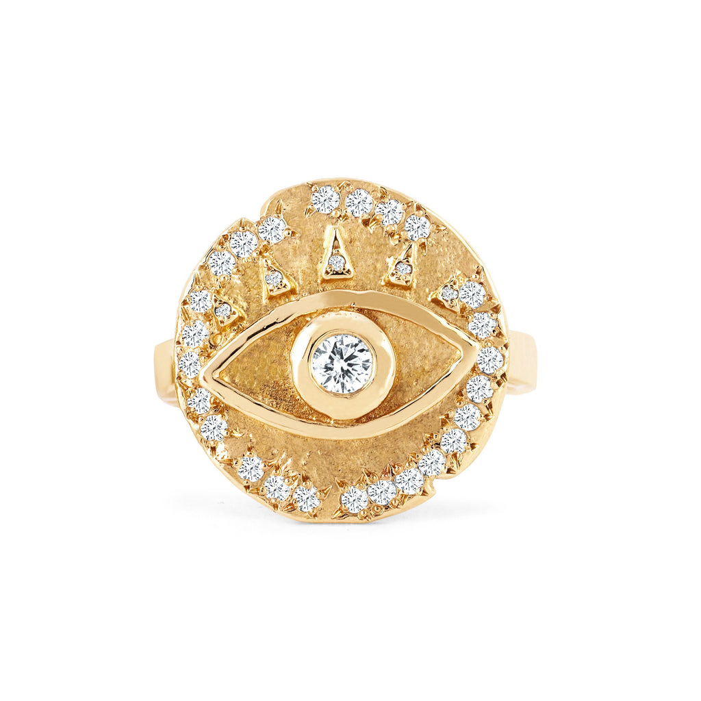 NEW! 18k Diamond Eye of Protection Coin Ring NEW! 18k Diamond Eye of Protection Coin Ring