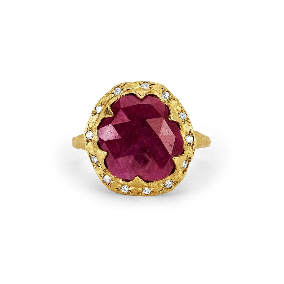 18k Rose Cut Oval Queen Ruby Ring with Sprinkled Diamonds