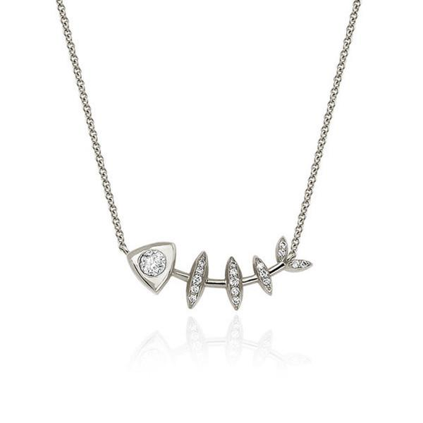 Diamond Fishbone Totem Necklace White Gold