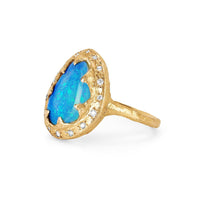 NEW! Free Form Blue Opal Queen Ring with Sprinkled Diamonds NEW! Free Form Blue Opal Queen Ring with Sprinkled Diamonds