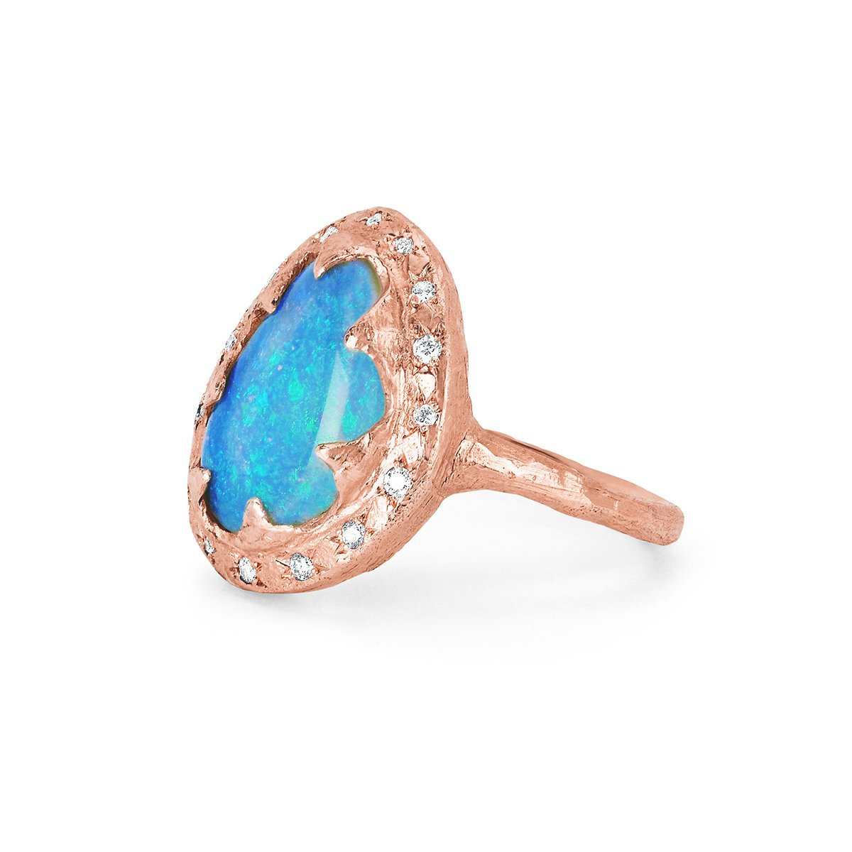 NEW! Free Form Blue Opal Queen Ring with Sprinkled Diamonds