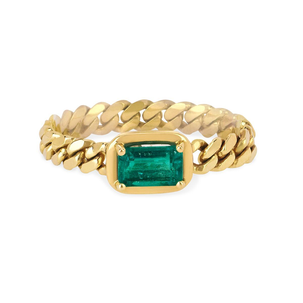 Queen Emerald Cut Emerald Cuban Ring