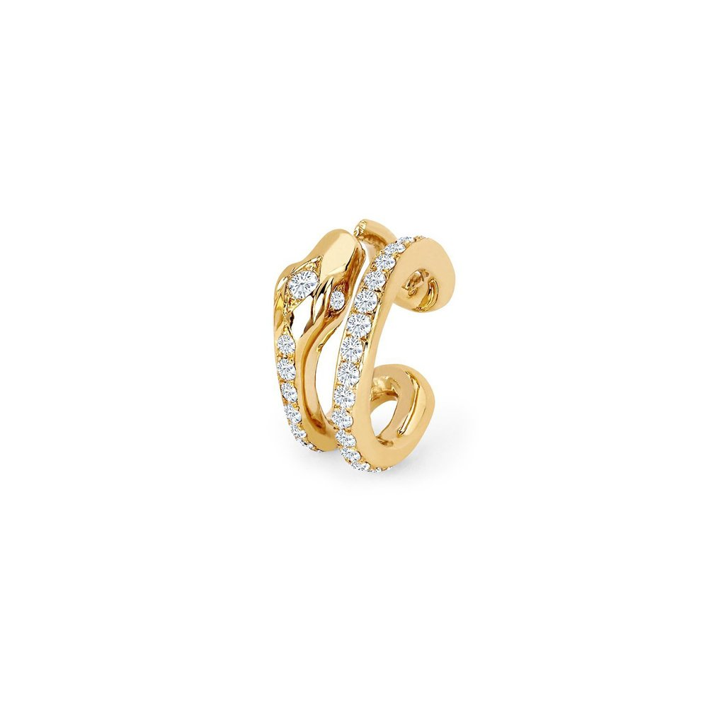 Kundalini Snake Coil Ear Cuff with Pavé Diamonds