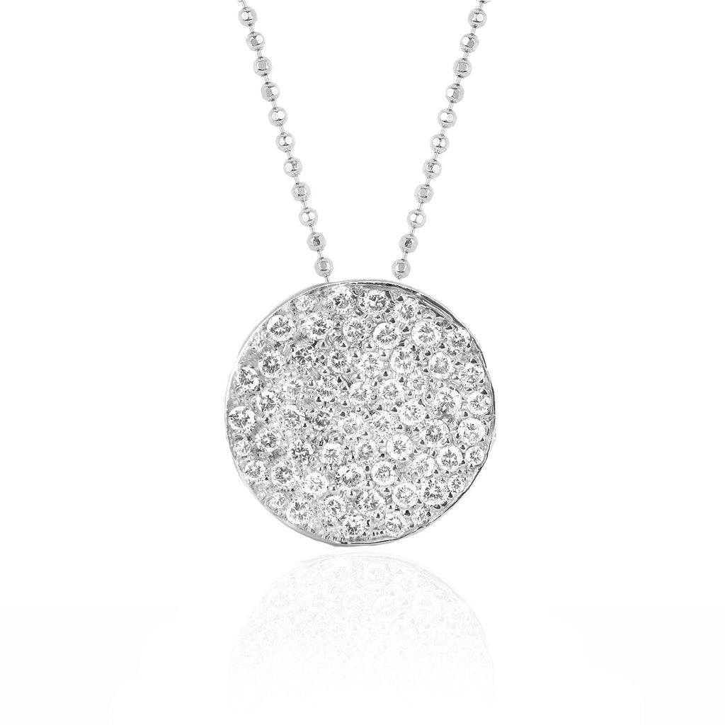 Full Moon Phase Coin Necklace White Gold