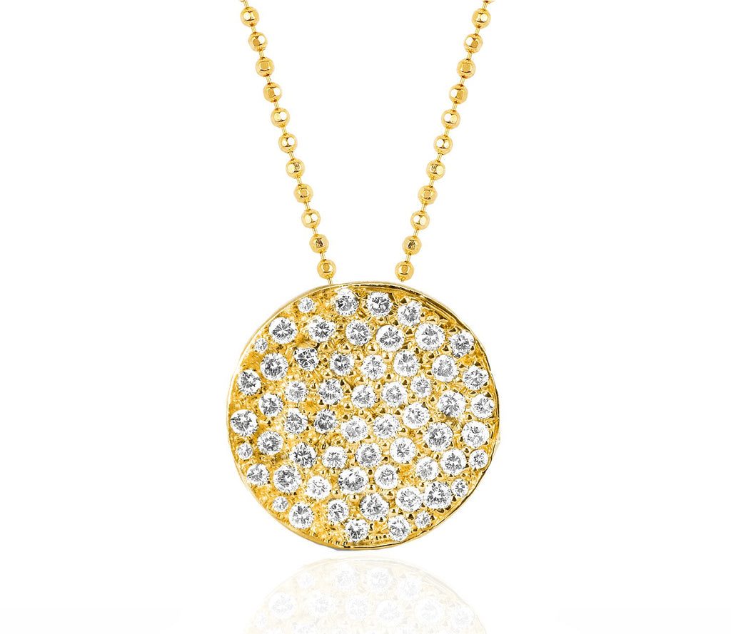 Full Moon Phase Coin Necklace Yellow Gold