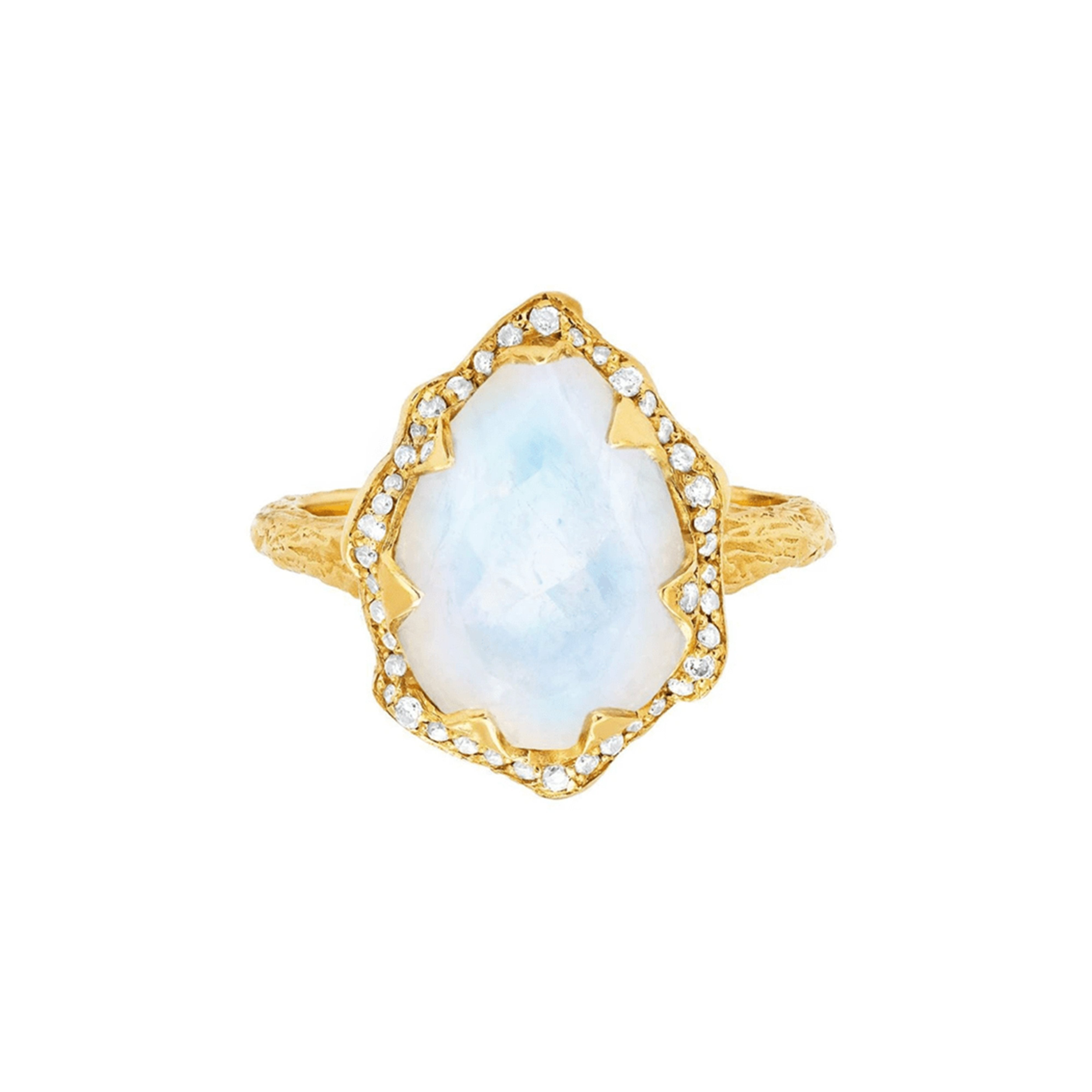 Queen Water Drop Moonstone Ring with Full Pavé Diamond Halo