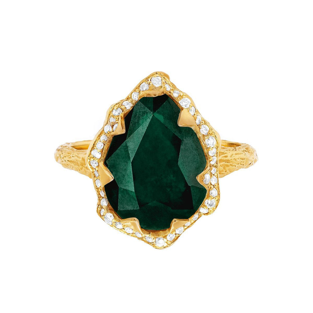 NEW! 18k Queen Water Drop Zambian Emerald Ring with Full Pavé Halo NEW! 18k Queen Water Drop Zambian Emerald Ring with Full Pavé Halo