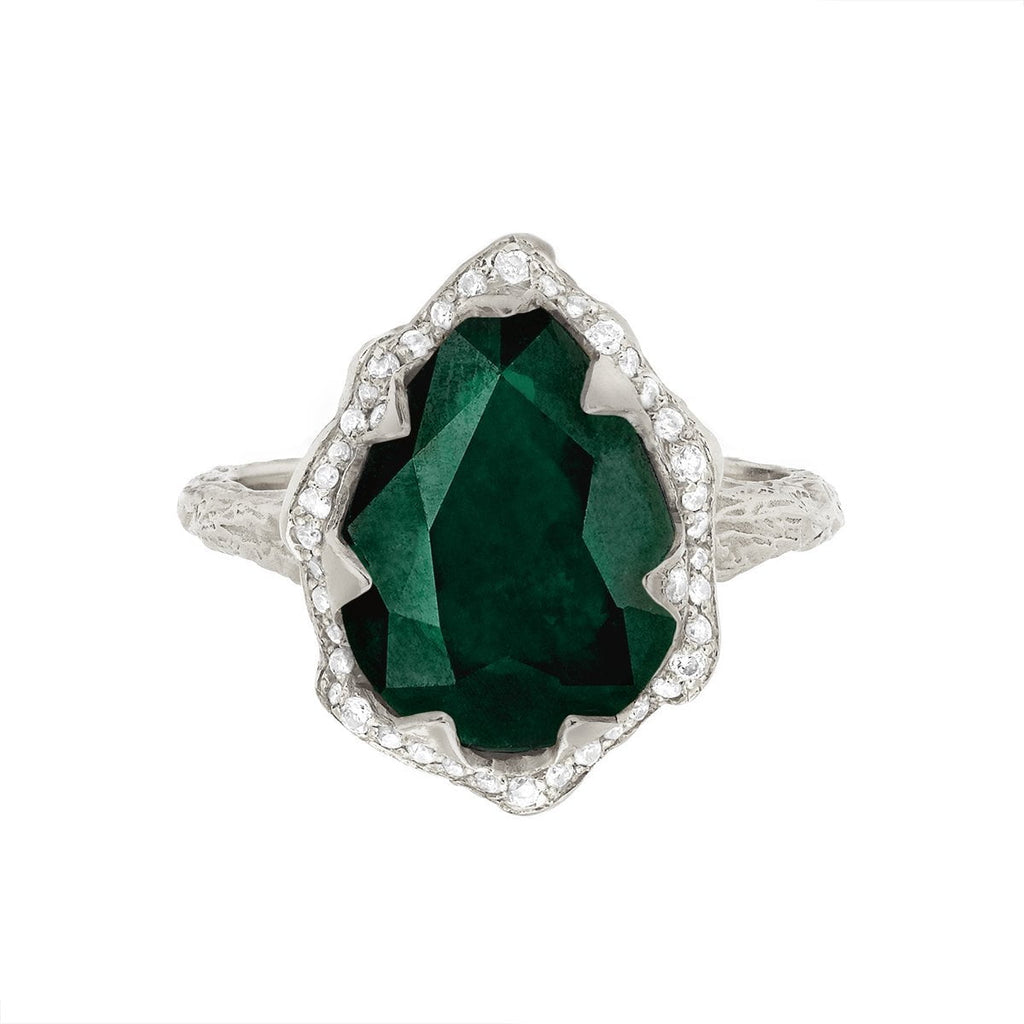 18k Queen Water Drop Zambian Emerald Ring with Full Pavé Diamond Halo 18k Queen Water Drop Zambian Emerald Ring with Full Pavé Diamond Halo