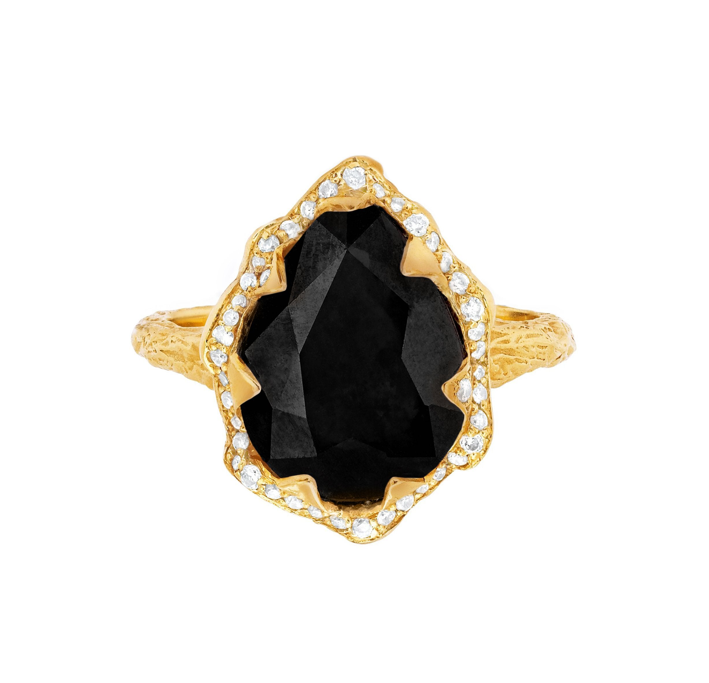 Queen Water Drop Onyx Ring with Full Pavé Diamond Halo
