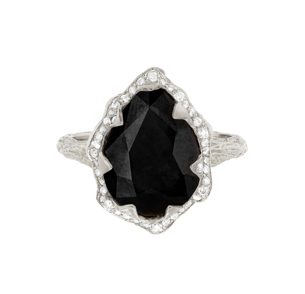 Queen Water Drop Onyx Ring with Full Pavé Diamond Halo Queen Water Drop Onyx Ring with Full Pavé Diamond Halo