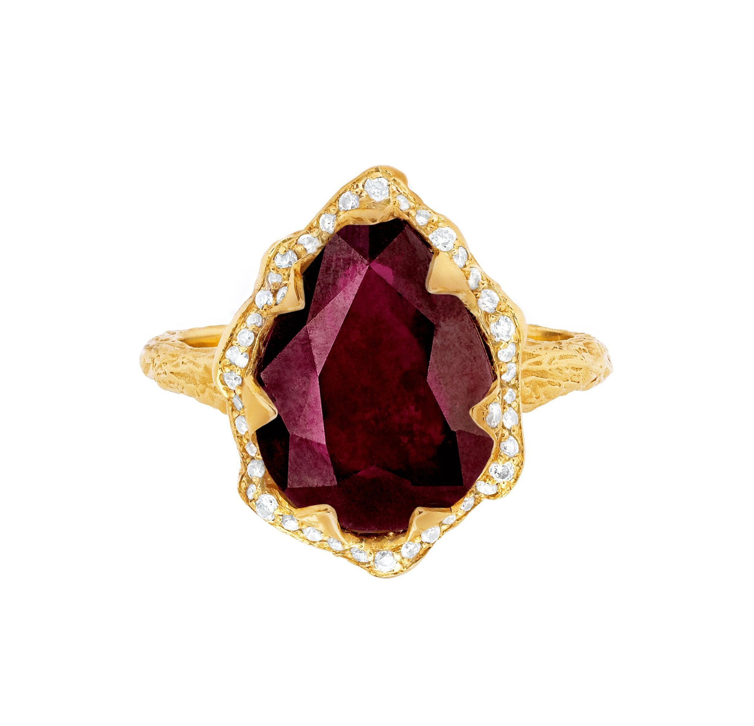 Queen Water Drop Ruby Ring with Full Pavé Diamond Halo
