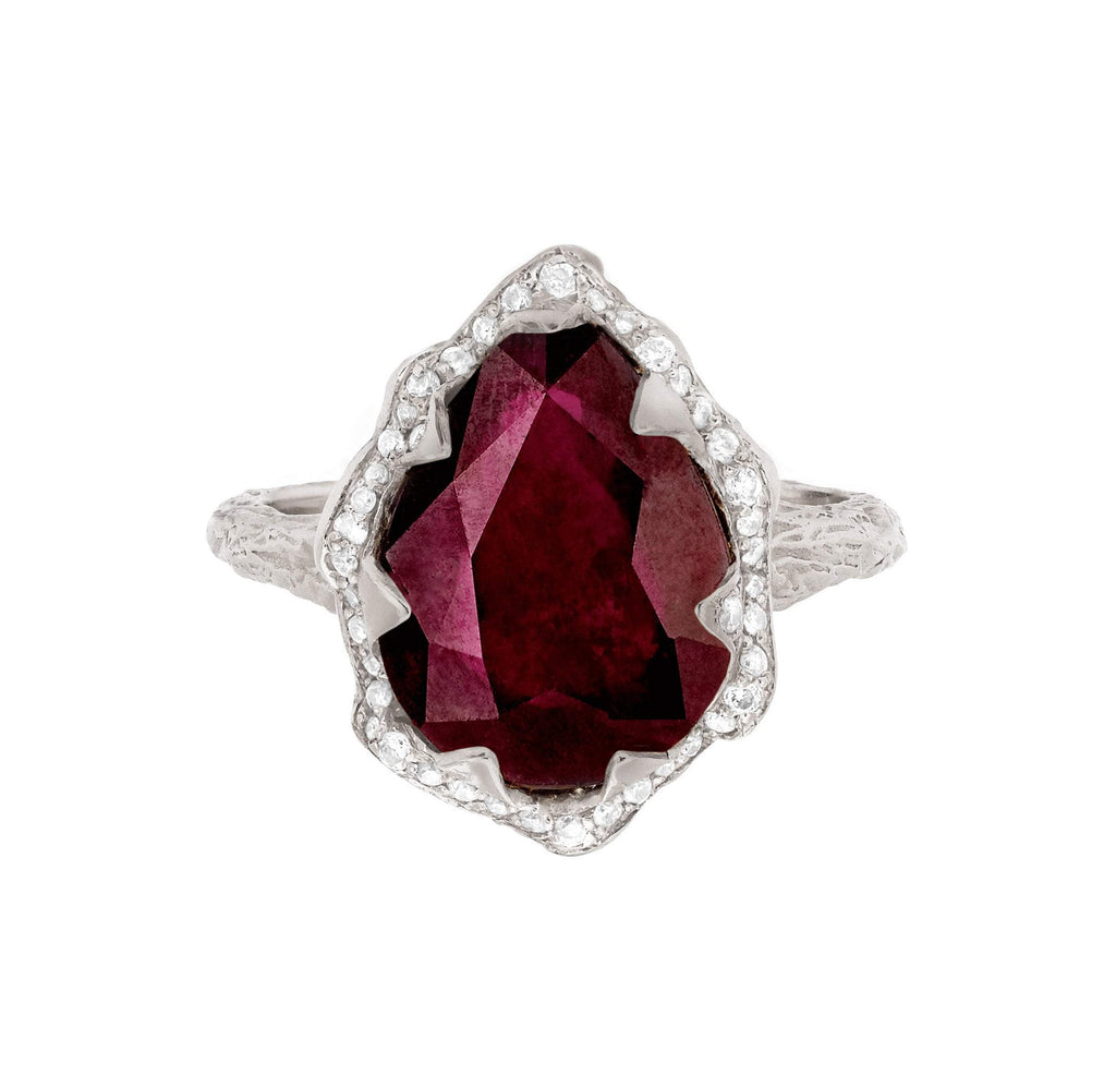 NEW! Queen Water Drop Ruby Ring with Full Pavé Halo NEW! Queen Water Drop Ruby Ring with Full Pavé Halo