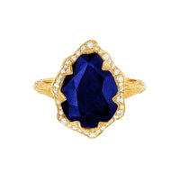 Queen Water Drop Sapphire Ring with Full Pavé Diamond Halo Queen Water Drop Sapphire Ring with Full Pavé Diamond Halo